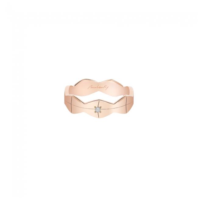 Verigheta Infinity, lata, cu1 diamant alb, din aur roz