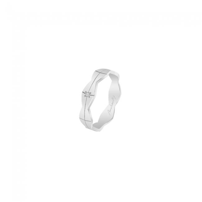 Verigheta Infinity, cu 1 diamant alb, mediu, din aur alb