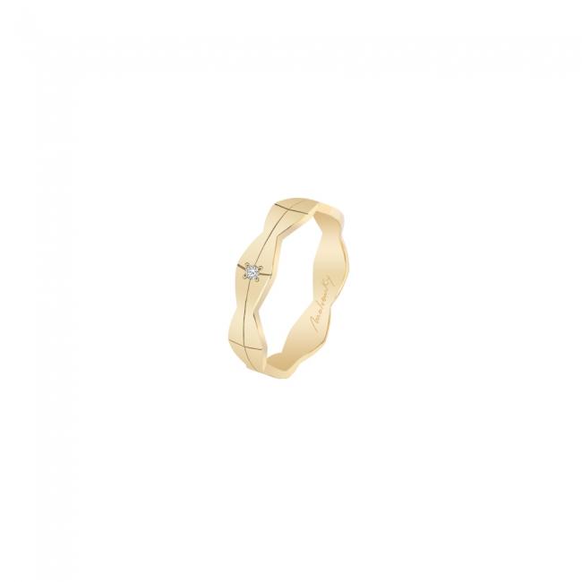Verigheta Infinity cu 1 diamant alb, medie, din aur galben
