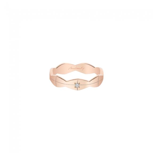 Verigheta Infinity, medie, cu 1 diamant alb, din aur roz