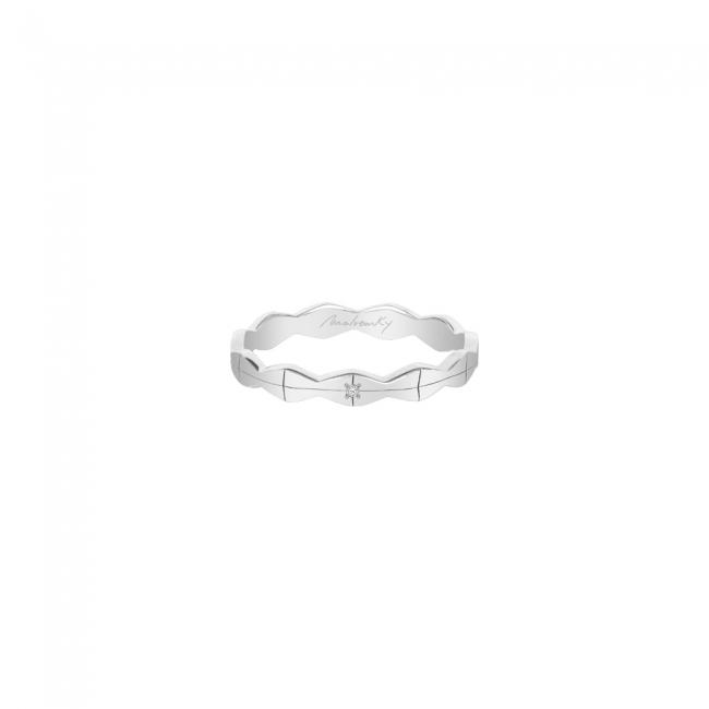 Verigheta infinity, subtire, cu 1 diamant alb, din aur alb