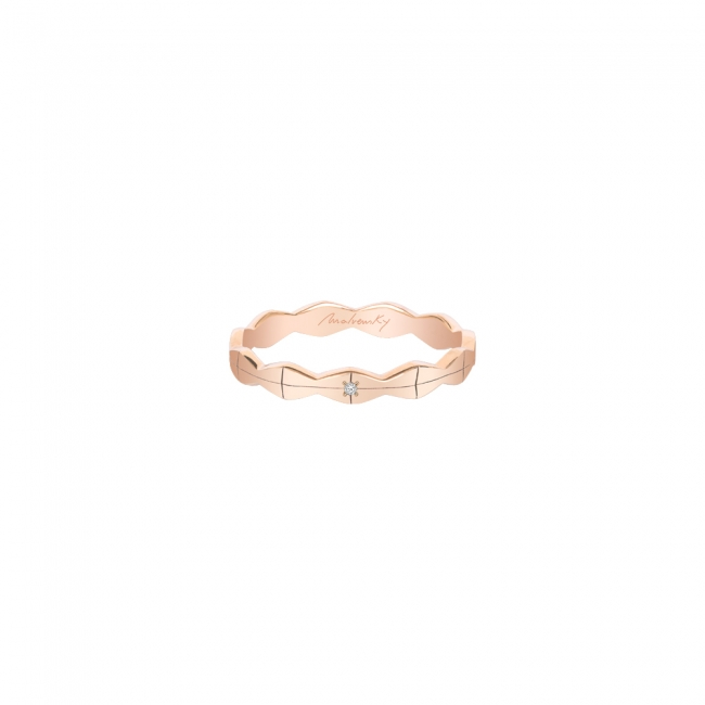 Verigheta Infinity subtire, cu diamant alb, din aur roz
