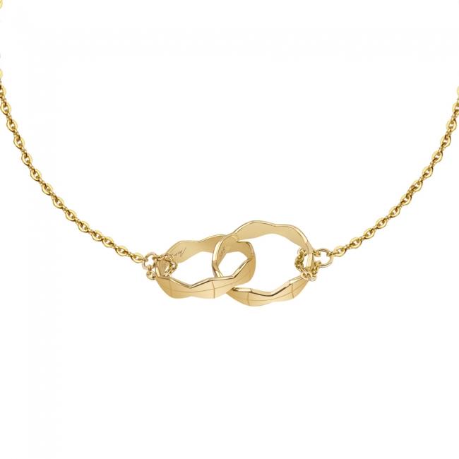 Bratara pe lant Twin Infinity, din aur galben