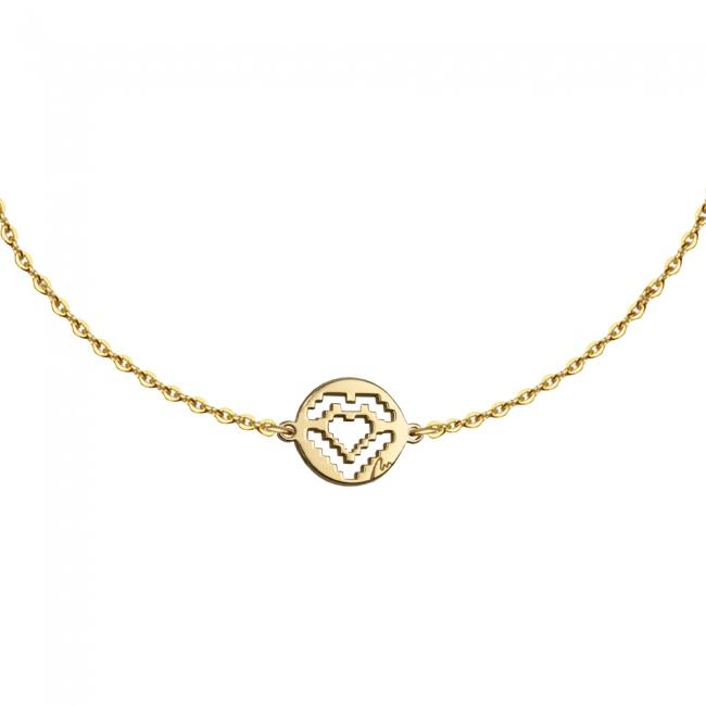 Bratara cu lant si pandantiv Inima traditionala, din aur galben