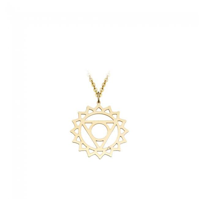 Pandantiv Chakra Gatului Vishudda, din aur galben
