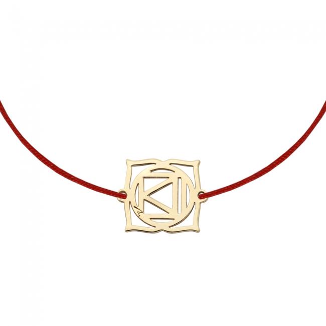 Bratara pe snur si pandantiv Chakra Radacina Muladhara, din aur galben