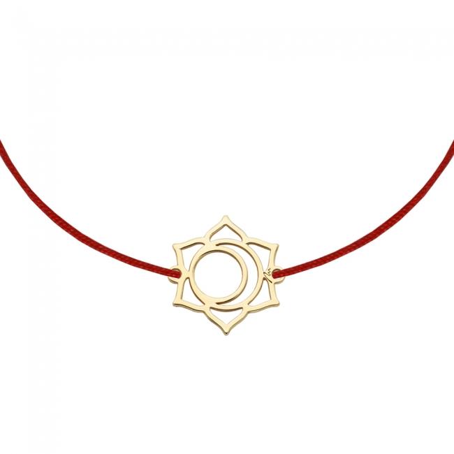 Bratara pe snur si pandantiv Chakra Sacrala Svadhisthana, din aur galben