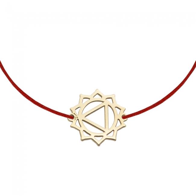 Bratara pe snur si pandantiv Chakra Plexului Solar Manipura, din aur galben