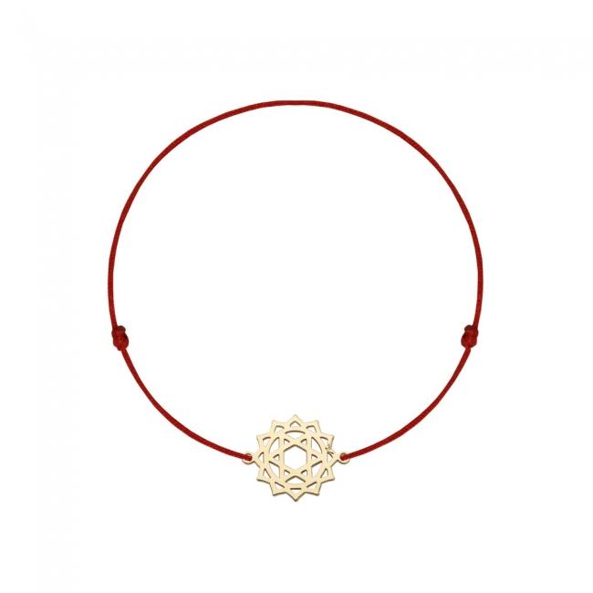 Bratara pe snur si pandantiv Chakra Inimii Anahata, din aur galben