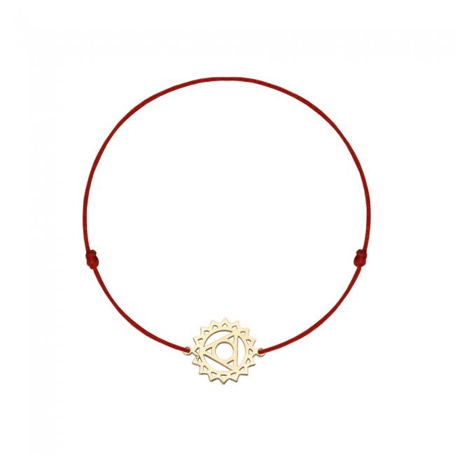 Bratara pe snur si pandantiv Chakra Gatului Vishudda, din aur galben