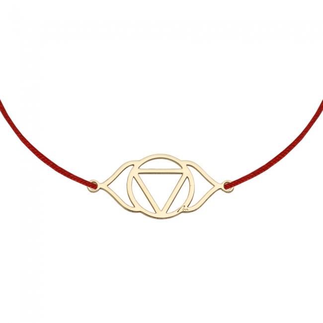 Bratara pe snur si pandantiv Chakra Celui de-al Treilea Ochi Ajna, din aur galben
