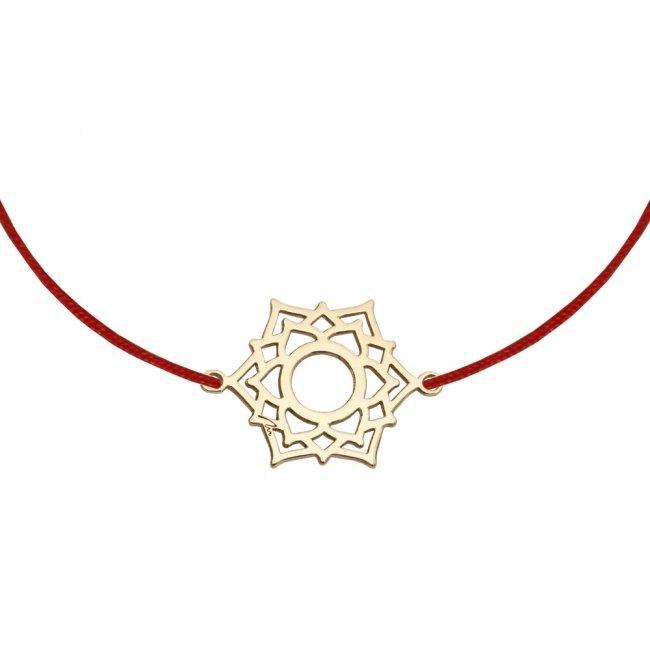 Bratara pe snur si pandantiv Chakra Coroanei Sahasrara, din aur galben