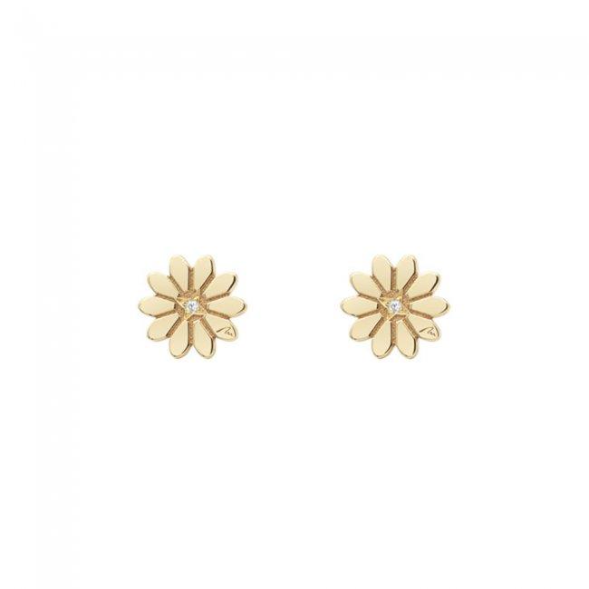 Cercei Margareta regala, din aur galben, cu diamante albe