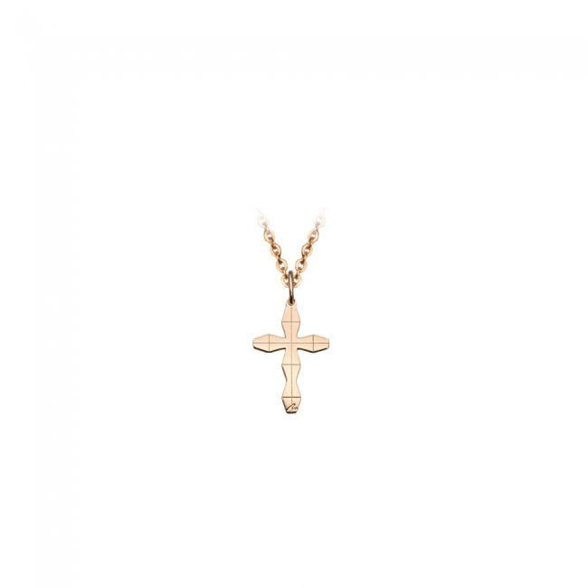 Pandativ pe snur Cruce Infinity M, din aur roz