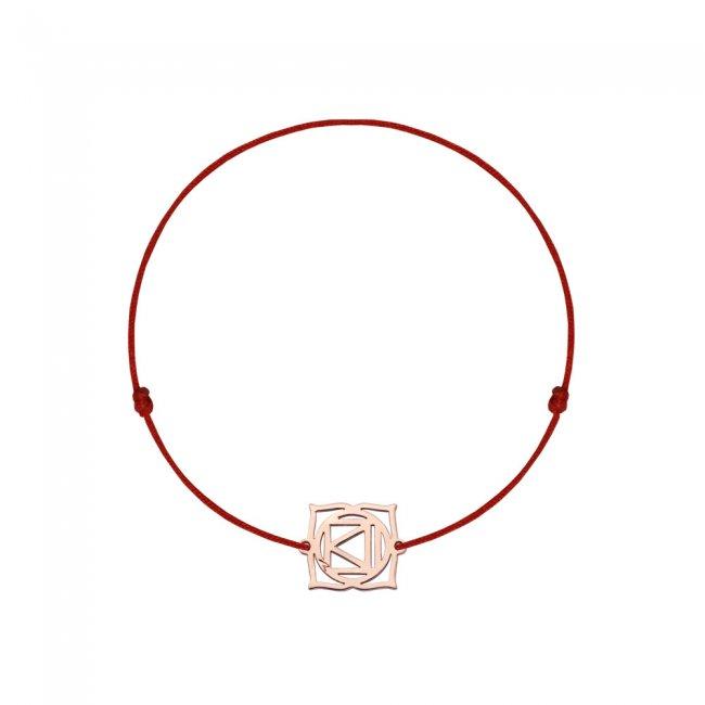 Bratara pe snur si pandantiv Chakra Radacina Muladhara, din aur roz