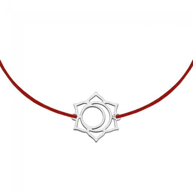 Bratara pe snur si pandantiv Chakra Sacrala Svadhisthana, din aur alb