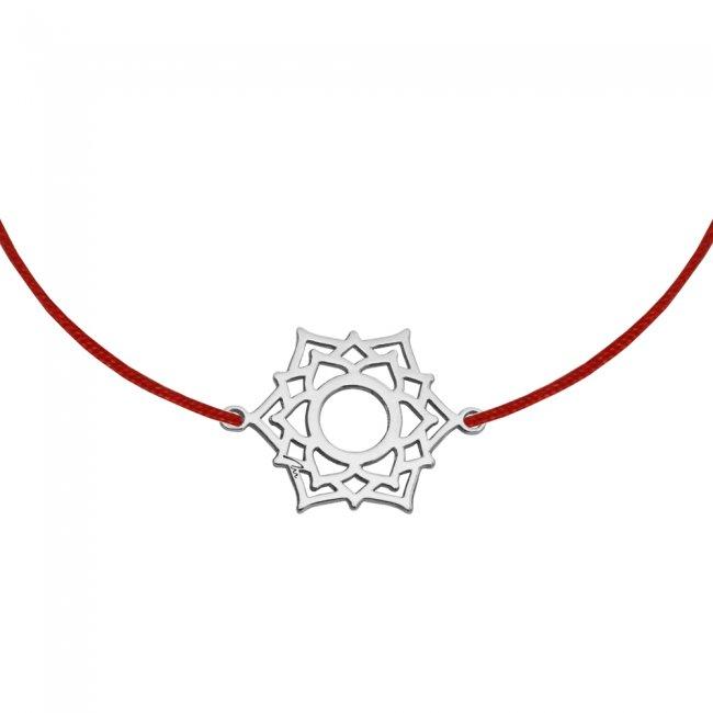 Bratara pe snur si pandantiv Chakra Coroanei Sahasrara, din aur alb
