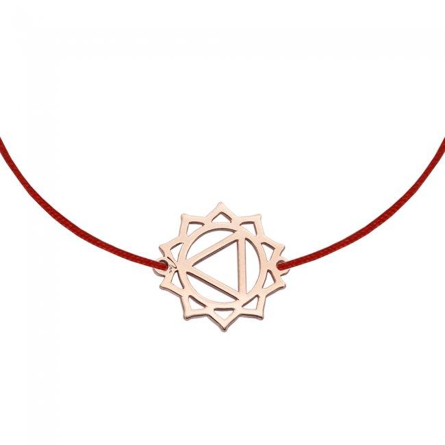 Bratara pe snur si pandantiv Chakra Plexului Solar Manipura, din aur roz