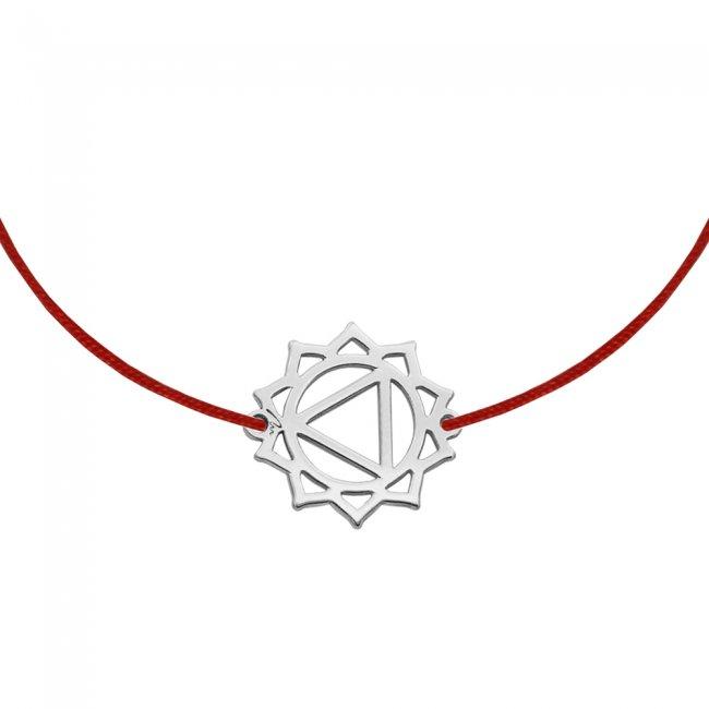 Bratara pe snur si pandantiv Chakra Plexului Solar Manipura, din aur alb