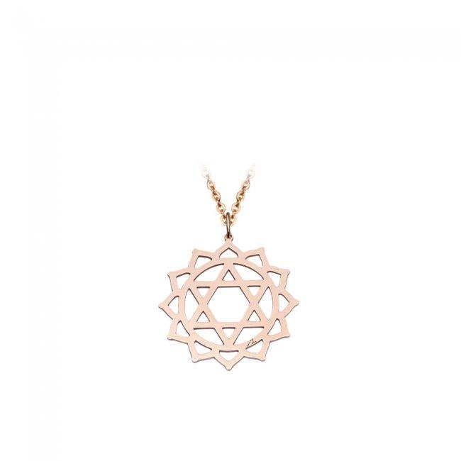 Pandantiv Chakra Inimii Anahata, din aur roz