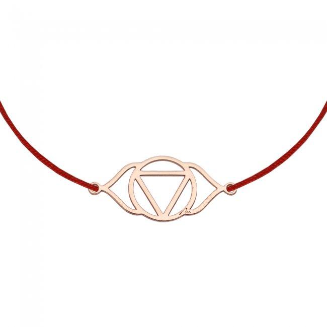 Bratara pe snur si pandantiv Chakra Celui de-al Treilea Ochi Ajna, din aur roz