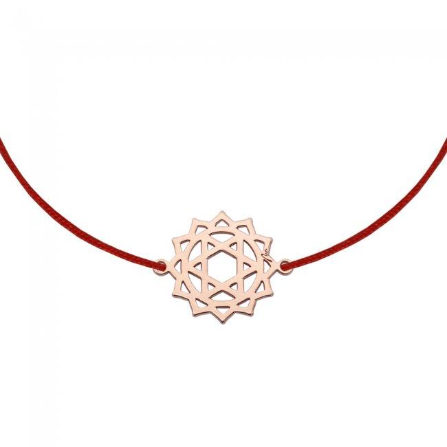 Bratara pe snur si pandantiv Chakra Inimii Anahata, din aur roz