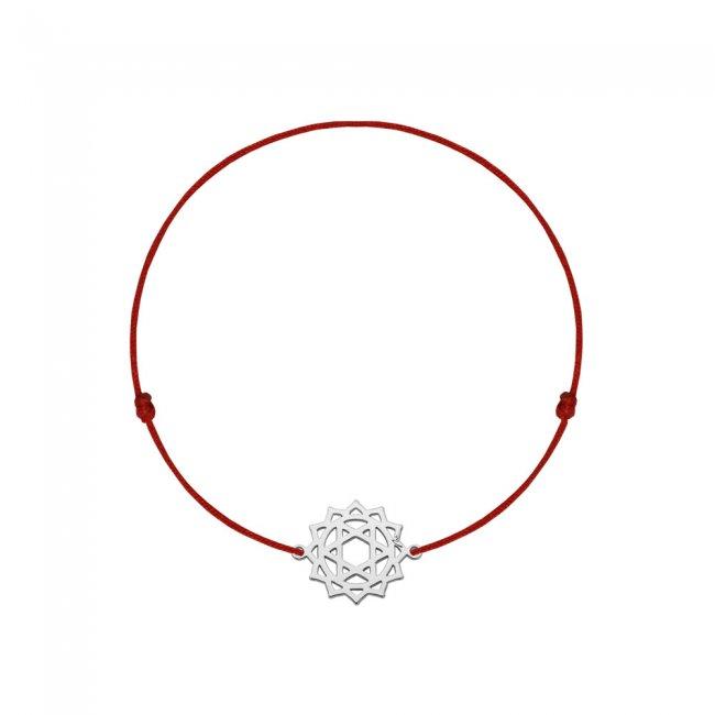 Bratara pe snur si pandantiv Chakra Inimii Anahata, din aur alb