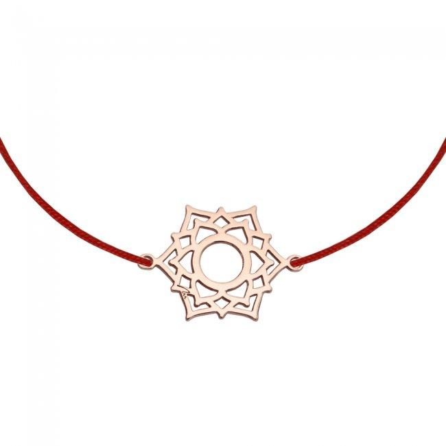 Bratara pe snur si pandantiv Chakra Coroanei Sahasrara, din aur roz
