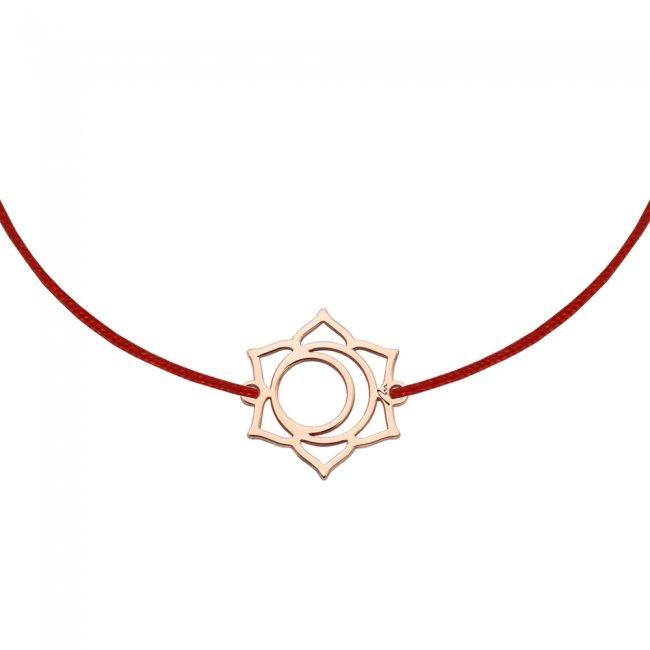 Bratara pe snur si pandantiv Chakra Sacrala Svadhisthana, din aur roz