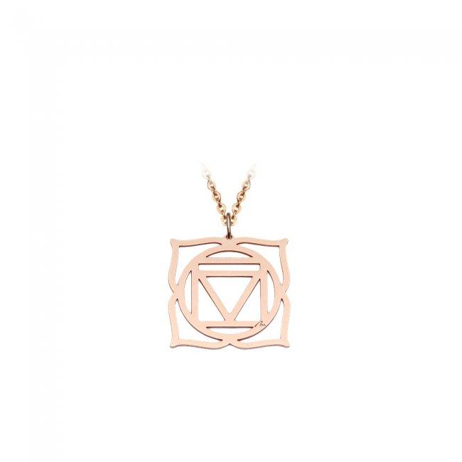 Pandantiv Chakra Radacina Muladhara, din aur roz