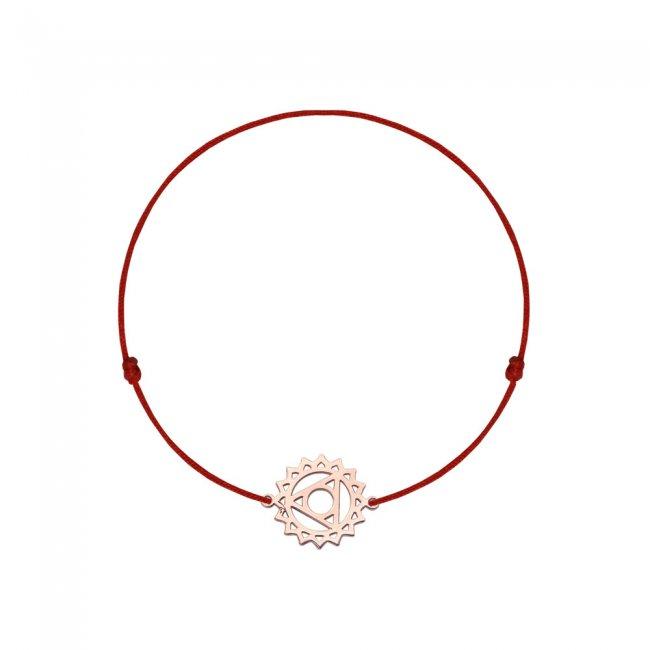 Bratara pe snur si pandantiv Chakra Gatului Vishudda, din aur roz