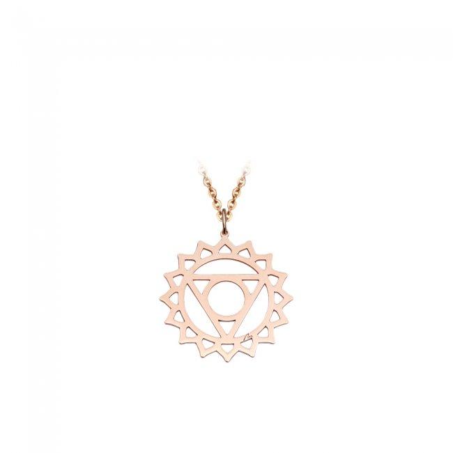 Pandantiv Chakra Gatului Vishudda, din aur roz