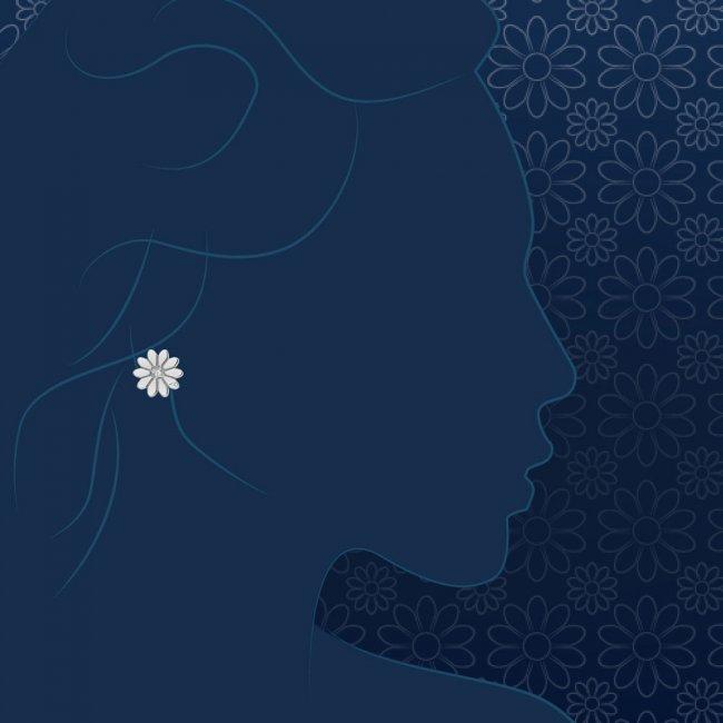 Cercei Margareta regala, din aur alb, cu diamante albe