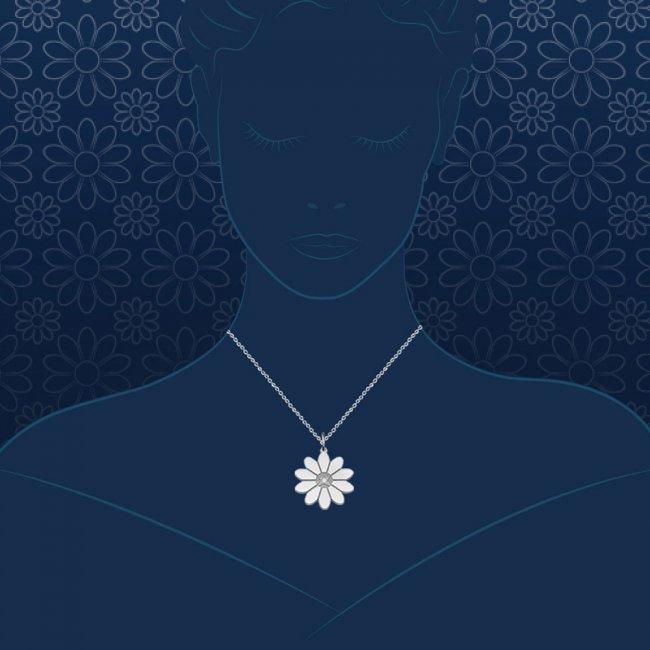 Pandantiv Margareta regala, din aur alb, cu 1 diamant alb