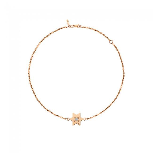 Bratara pe lant Stea S, din aur roz, cu diamant alb