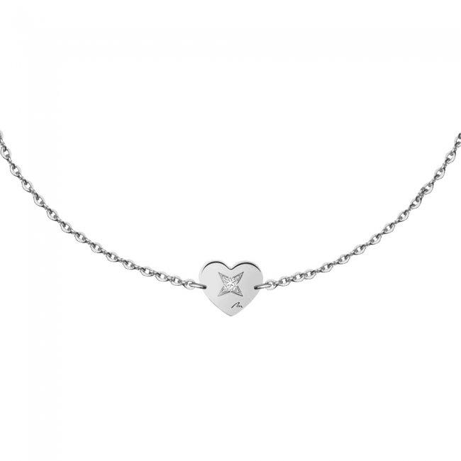 Bratara pe lant Inima S, din aur alb, cu diamant alb