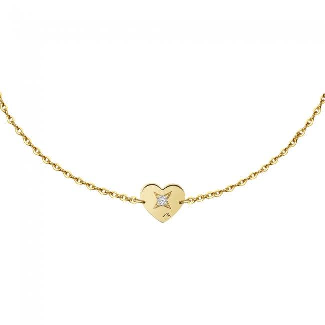 Bratara pe lant Inimioara, din aur galben, cu diamant alb