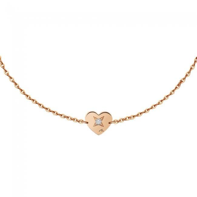 Bratara pe lant Inima S, din aur roz, cu diamant alb