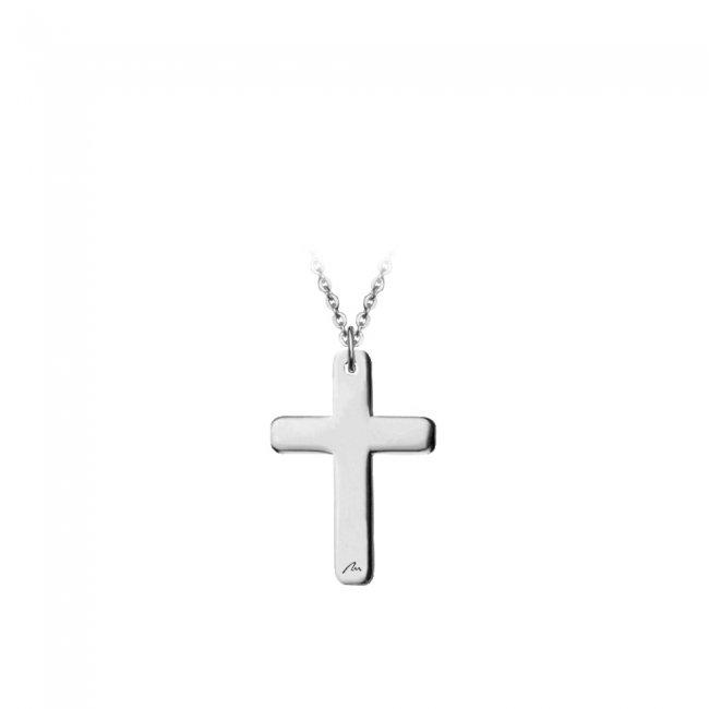 Pandantiv pe snur Cruce, din aur alb