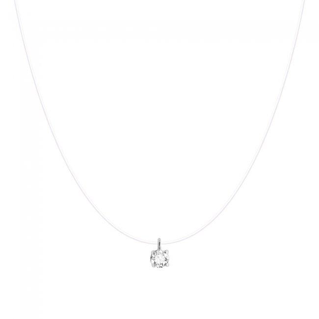 Lant cu diamant pe colier transparent, din aur alb