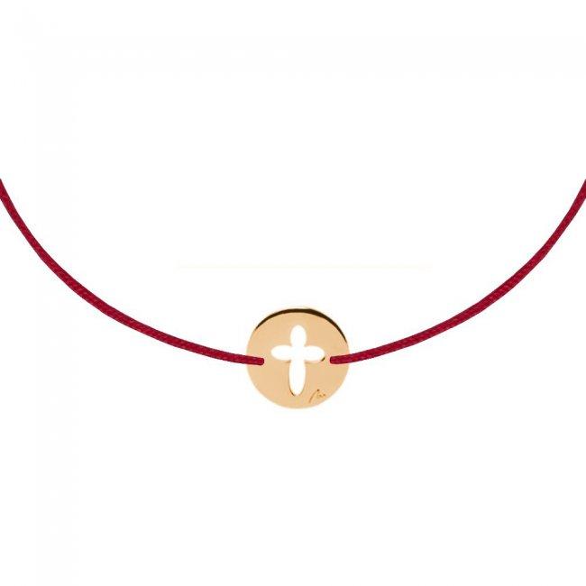 Bratara pe snur Baby Cruce, din aur roz
