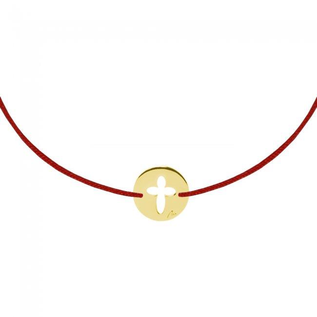 Bratara pe snur Baby Cruce, din aur galben