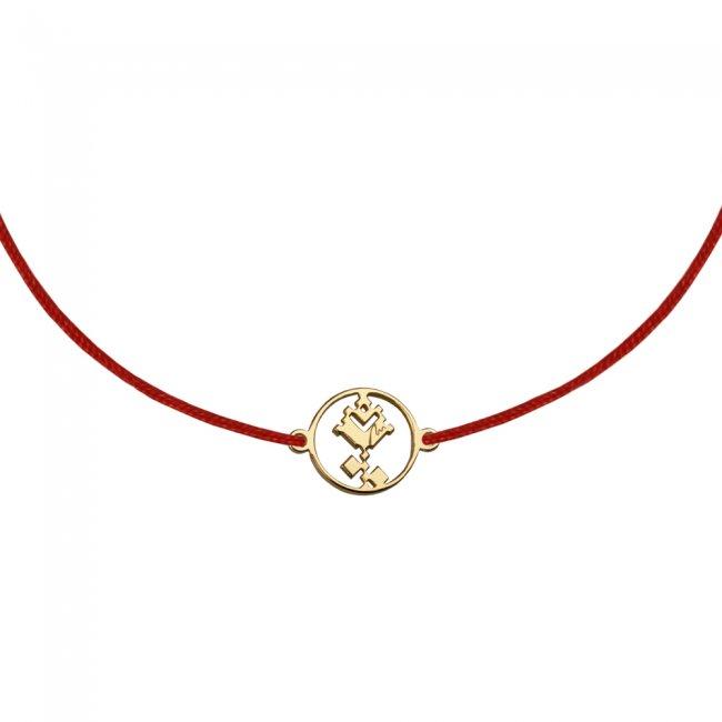 Bratara pe snur Trandafir traditional, din alama placata cu aur galben