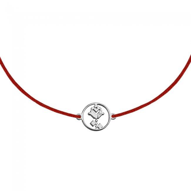 Bratara pe snur Trandafir traditional, din alama placata cu aur alb