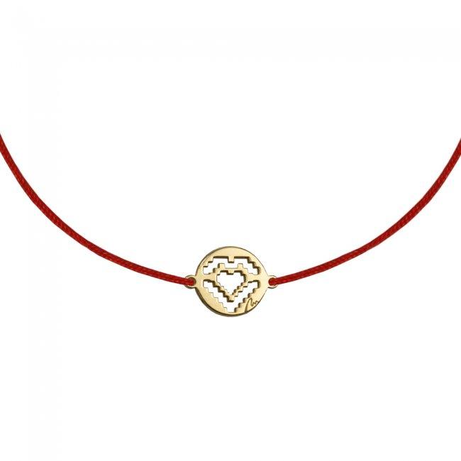 Bratara pe snur Inima traditionala, din alama placata cu aur galben