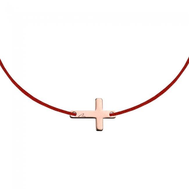 Bratara pe snur Cruce, din alama placata cu aur roz