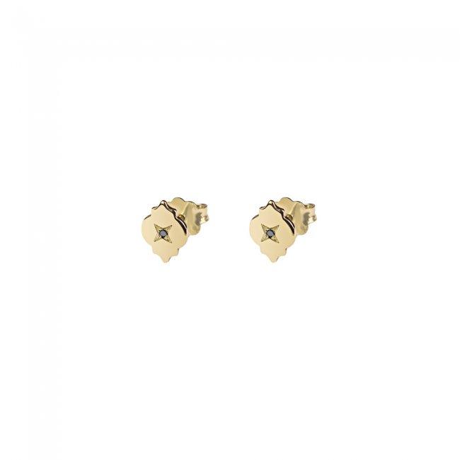 Cercei Asha, din aur galben, cu diamante negre