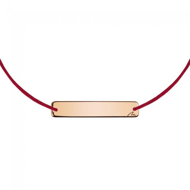 Bratara pe snur Placuta Slim, din alama placata cu aur roz