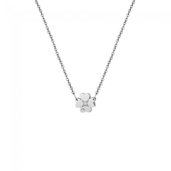 Lantisor Trifoi 8 mm, cu 1 diamant alb, din aur alb