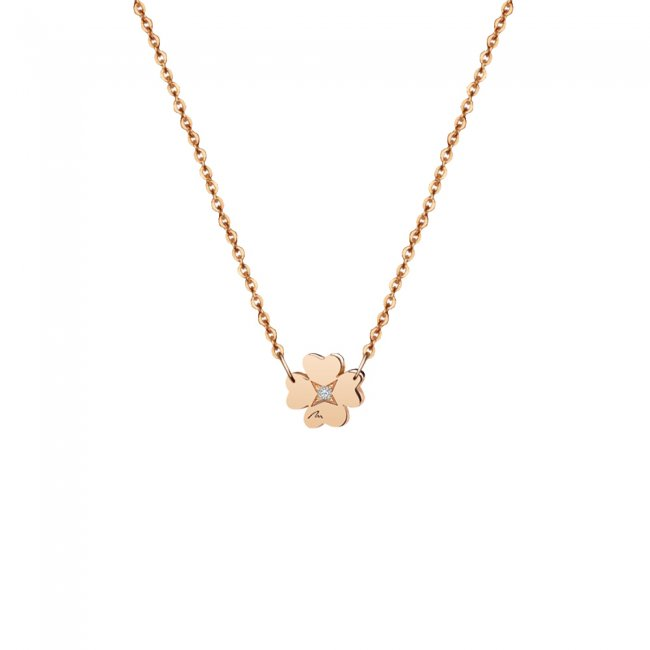 Lantisor Trifoi 8 mm, cu 1 diamant alb, din aur roz